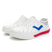 PONY 世界國旗奧運款 男女款白紅色洞洞水鞋-NO.02U1SA06RW