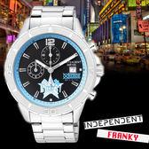 【名人鐘錶】INDEPENDENTx航海王海賊王聯名 佛朗基限定款x黑面藍框三眼錶・BA2-717-53・星辰副牌