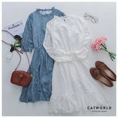 Catworld 正韓空運*幾何圖騰蕾絲小立領洋裝【16004933】‧F