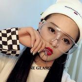 透明超大框酷網紅眼鏡個性男女凹造型摩托車騎行防風沙護目鏡眼鏡 范思蓮恩