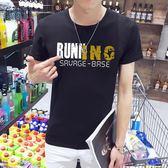 短袖T恤 男夏季圓領修身印花T恤男裝打底衫上衣《印象精品》t28