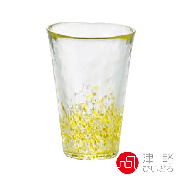 日本津輕 手作粉彩玻璃飲料杯300ml-黃