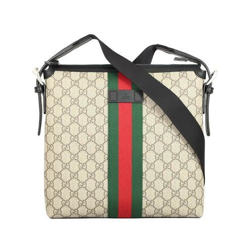 GUCCI GG Supreme 綠紅織帶拼接方形男款斜背包(咖啡/黑色)