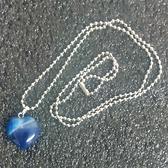 天然晶石 藍瑪瑙 心型水晶能量靈擺項鏈