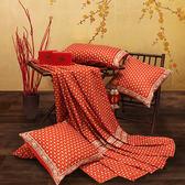 【金‧安德森】精梳棉《克里斯》床包四件組(紅)