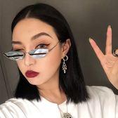 個性貓眼女墨鏡韓版潮鏡面反光拼色小框原宿太陽鏡男 創想數位