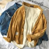 襯衫外套   加絨保暖襯衫男新款長袖襯衣韓版潮流男士加厚情侶打底衫外套快速出貨