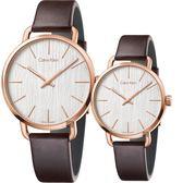 Calvin Klein CK Even 木質情侶手錶 對錶-銀x玫瑰金框/42mm+36mm K7B216G6+K7B236G6