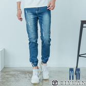 【OBIYUAN】牛仔褲 獨家 抓破 韓板刷色 丹寧 長褲 彈性縮口褲 共1色【SP1010】