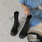 馬丁靴白色馬丁靴女夏季薄款潮ins酷厚底機車靴網紅瘦瘦靴英倫風中筒靴 萊俐亞 交換禮物