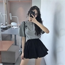 撲啦啦簡約韓風寬鬆休閒學生短袖T恤女高腰...