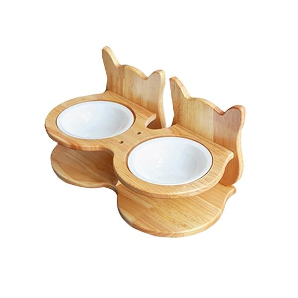 寵物家族-FD.Cattery 喵仙兒-雙胞胎貓耳碗架組(附瓷碗)