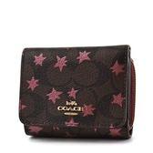 美國正品 COACH 耀眼星星LOGO防刮皮革三折零錢袋短夾-紅色【現貨】