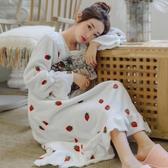 韓版甜美加厚加長款法蘭絨睡裙女秋冬季公主風珊瑚絨保暖草莓睡衣