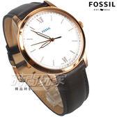 FOSSIL 雅痞風範 都會腕錶 薄型錶框 羅馬時刻 真皮錶帶 咖啡x玫瑰金 男錶 中性錶 防水手錶 FS5463