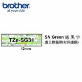 Brother TZe-SG31 SNOOPY Green底黑字 12mm 護貝標籤帶