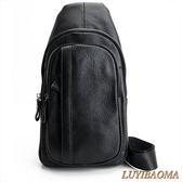 胸包-璐易寶馬.真皮質感造型紋路斜肩/胸背包(黑色)6601