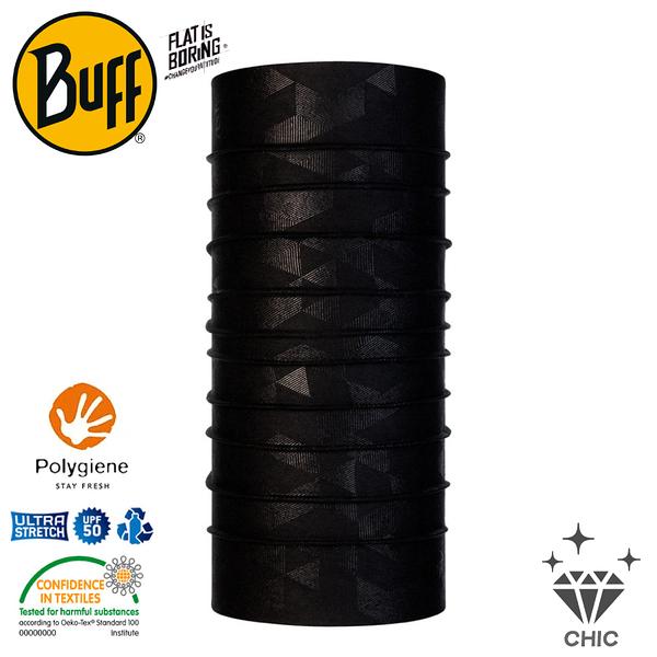 【BUFF 西班牙 CHIC 經典頭巾Plus 黑色立方】120887/圍脖/帽子/口罩/圍巾/吸溼排汗