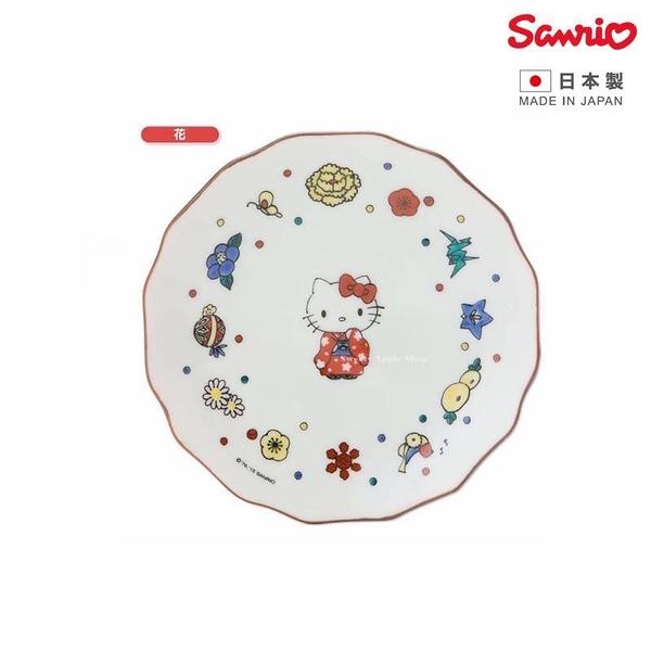 【SAS】【日本製】日本限定 三麗鷗×KUTANI SEAL聯名系列 KITTY 凱蒂貓 九谷燒 花和風 磁器盤子