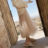 新款時尚網紗抖音仙女裙高腰中長款ins超火a字裙蓬蓬裙潮 黛尼時尚精品
