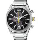 CITIZEN 星辰 光動能渦輪時尚計時手錶-黑x銀/43mm CA0666-82E