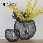 花瓶 簡約現代歐式復古黑點金屬台面花瓶創意花器不銹鋼藝術擺件工藝品 快速出貨
