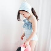 日系中大女童泳裝連體黑白格可愛游泳衣泳裝【步行者戶外生活館】