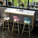 北歐大理石吧台桌實木酒吧桌椅組合靠牆吧台...