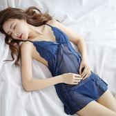 露背吊帶睡裙女夏透明薄紗火辣蕾絲鏤空性感情趣女 DN8159【野之旅】