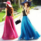 工廠批發價不退換~沙灘裙夏季雪紡拖地長裙大擺飄逸半身裙16色多種穿法ZM2F-B139-1紅粉佳人