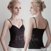 運動型內衣 【Naya Nina】Bra Top細肩帶無鋼圈罩杯內搭背心(黑色) 愛的蔓延 NA14360007