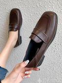 樂福鞋方頭單鞋女新款韓版百搭一腳蹬懶人小皮鞋休閒學生樂福鞋 【四月特賣】