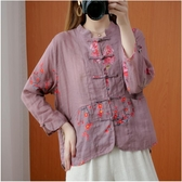 降價兩天 初秋棉麻印花襯衫小衫盤扣 純亞麻中式復古女裝 中國風上衣長袖開衫