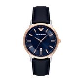 【Emporio Armani】Classic美式經典極簡風時尚真皮腕錶-藍玫金/AR2506/台灣總代理公司貨享兩年保固