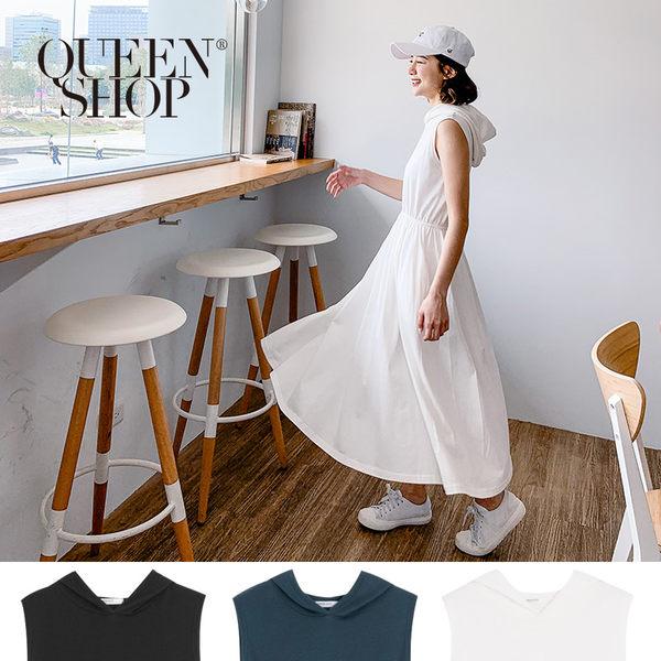 Queen Shop【01084477】棉質無袖連帽洋裝 三色售*現+預*