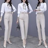 第二件4折 韓國風燈籠袖襯衫修身收腰長褲套裝長袖褲裝