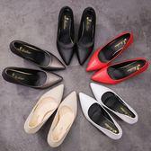 正韓細跟高跟鞋尖頭淺口黑色工作鞋子時尚百搭單鞋女