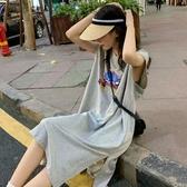 港風ins超火無袖T恤女2020夏韓版寬鬆原宿bf學生長款過膝上衣服 曼慕衣櫃