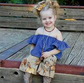 牛仔色荷葉一字領上衣 橘魔法 Baby magic 現貨 兒童 女童 中小童
