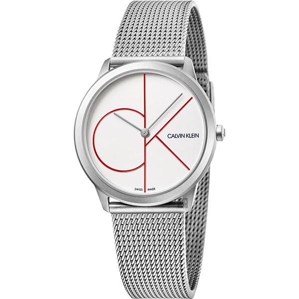 Calvin Klein CK Minimal 經典大LOGO手錶-白x銀/35mm K3M52152