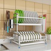 304不銹鋼廚房瀝水碗架碗櫃家用簡易櫥櫃多功能碗筷收納盒置物架XW
