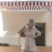 限時38折 韓國復古風氣質百搭條紋V領顯瘦高腰系帶闊腿連身褲套裝短袖褲裝