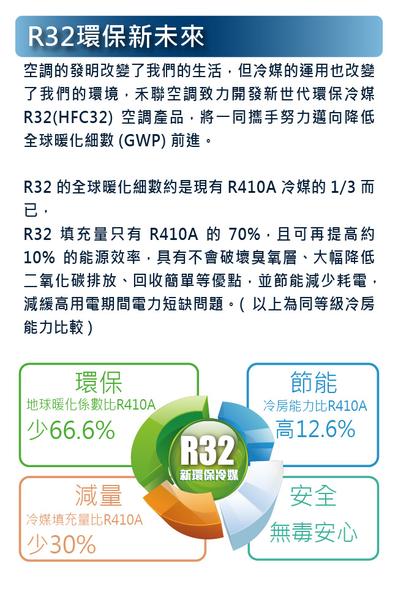 不含安裝【信源電器】4坪【HERAN 禾聯】一對一分離式變頻冷氣機 HI-GP32 / HO-GP32