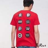 【第2件5折↘輸碼再88折】丸系列-隨意貼標繡TEE(紅) - BLUE WAY 鬼洗い