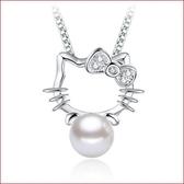 凱蒂貓鍍銀飾項鏈 鋯石珍珠項鏈吊墜【多多鞋包店】s207