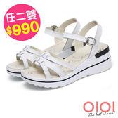 楔型涼鞋 線條美型真皮楔型涼鞋(白)*0101shoes【18-A3535w】【現貨】