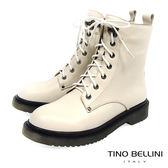 Tino Bellini中性搖滾柔軟舒足綁帶軍靴_ 米白 C69007