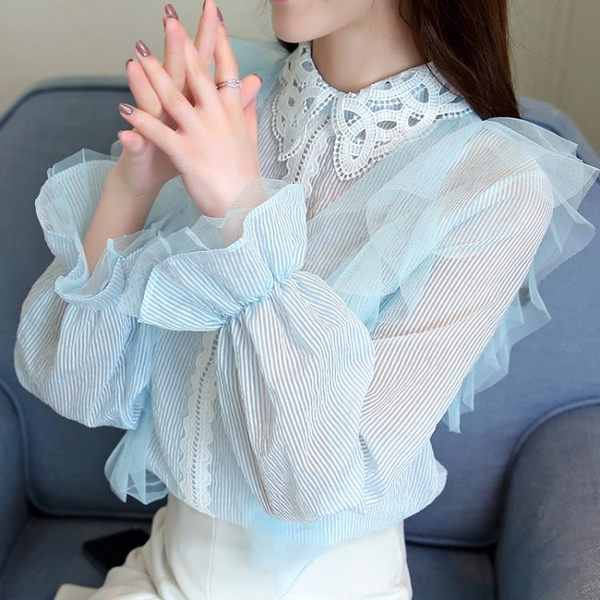 2019春季新款潮娃娃衫蕾絲上衣服甜美洋氣襯衫雪紡衫女3068#(批發直銷品不退換)G-462-B日韓屋