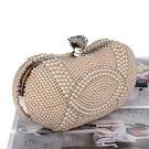 珍珠晚宴包-精美宴會水鑽時尚女手拿鏈條包...
