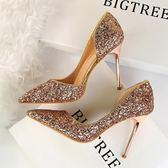 高跟鞋 水晶鞋金色婚鞋新娘側鏤空銀色高跟鞋細跟尖頭亮片女